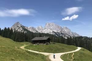 Mountainbiker bei der Litzlam vor der Reiteralpe